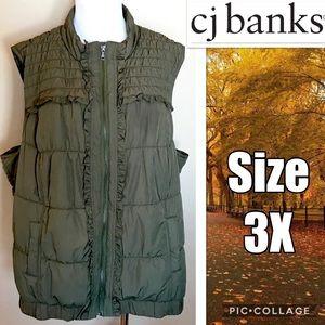 CJ Banks Women's Ruffle/Quilted Winter Vest Sz 3X